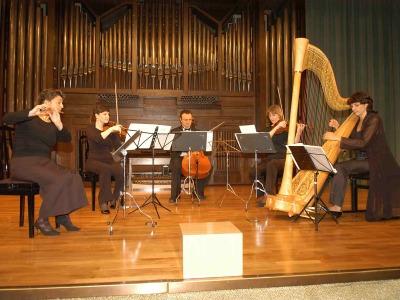 String Trío, Michael Granados y María Antonia Rodríguez. Concierto En recuerdo a Nicanor Zabaleta
