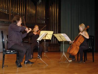 Trío Voirin, Serguei Teslia, Raluca Berbec y Cecilia de Montserrat. Concierto Tríos de cuerda