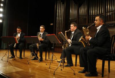 Cuarteto de Saxos Glazounov, Orestes de Armas, Gregorio Hernández, Andrés Reyes y Benigno Cedrés. Concierto Cuartetos exóticos