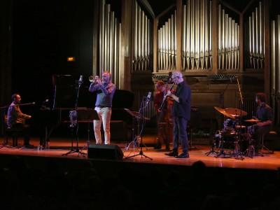 Federico Lechner, Guillermo Lancelotti, Toño, Andreas Prittwitz y Andrés Litwin. Concierto Rayuela en música - El jazz de Julio Cortázar. En los 50 años de Rayuela