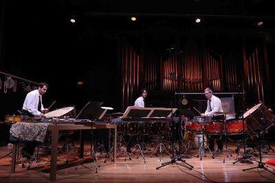 Neopercusión, Juanjo Guillem, Rafael Gálvez y Antonio Picó. Concierto Tierra - Música y arte sonoro: los cuatro elementos