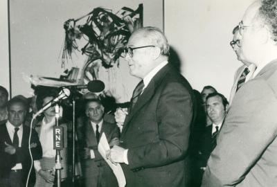 Fernando Zóbel durante el acto de entrega de la Colección de Arte Abstracto del Museo de Cuenca a la Fundación Juan March