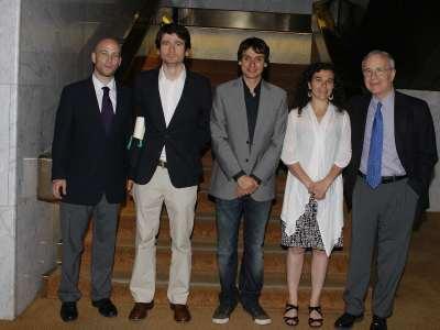 Javier Alcalde, Luis de la Calle, Lluis Orriols, Laia Balcells y José María Maravall. Entrega diplomas de Maestros y Doctores del CEACS