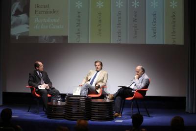 Bernat Hernández, Javier Gomá Lanzón y Ricardo García Cárcel. Presentación del libro Bartolomé de las Casas, de Bernat Hernández