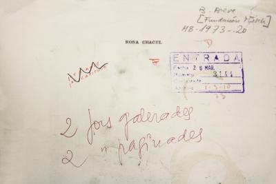 Portada del manuscrito de la novela Barrio de maravillas, de Rosa Chacel