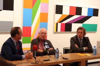 Manuel Fontán del Junco, Jacob Bill y Javier Gomá Lanzón. Rueda de prensa inuguración Exposición Max Bill
