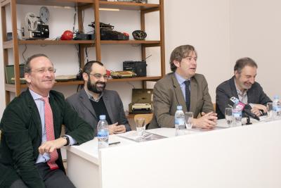 """Manuel Fontán del Junco, Jose Luis Maire, Javier Gomá Lanzón y José Iges. Exposición """"Arte Sonoro en España (1961-2016)"""