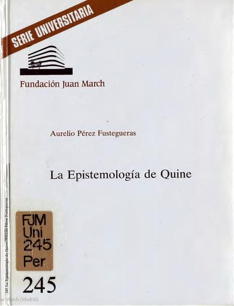 """Portada de """"La Epistemología de Quine"""""""