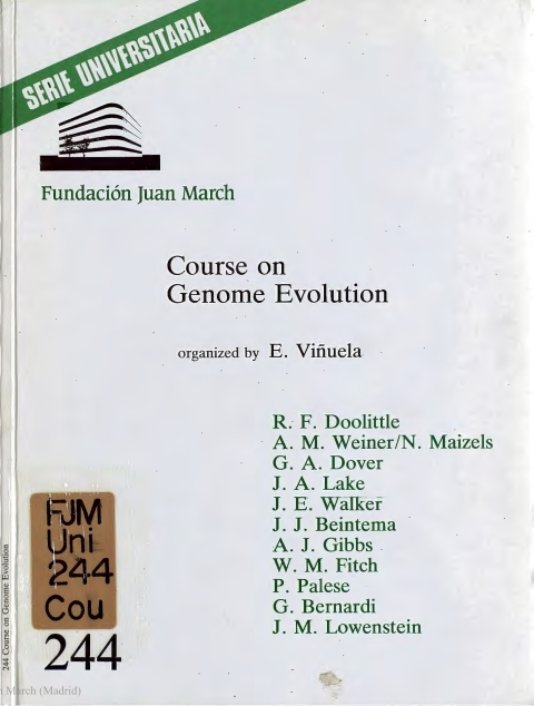 "Portada de ""Course on Genome Evolution"""