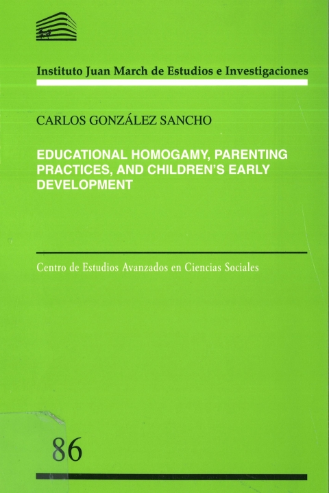 "Portada de ""Educational Homogamy, Parenting Practices, and Children's Early Development"""