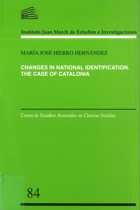 "Portada de ""Changes in National Identification: A Study of the Catalan Case"""
