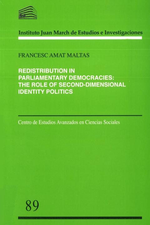 "Portada de ""Redistribution in Parliamentary Democracies: The Role of Second-Dimensional Identity Politics"""