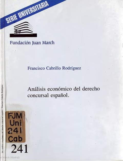 """Portada de """"Análisis económico del derecho concursal español"""""""