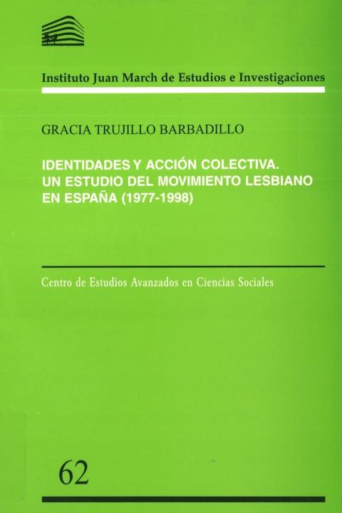 """Portada de """"Identidades y acción colectiva: un estudio del movimiento lesbiano en España, 1977-1998"""""""
