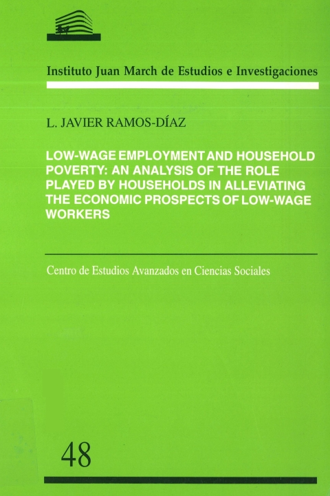 """Portada de """"Low-wage employment and household poverty: an analysis of the role played by households in alleviating the economic prospects of low-wage workers"""""""