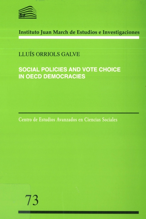 "Portada de ""Social policies and vote choice in OECD democracies"""