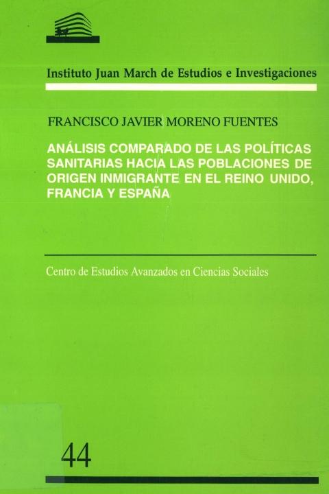 """Portada de """"Análisis comparado de las políticas sanitarias hacia las poblaciones de origen inmigrante en el Reino Unido, Francia y España"""""""