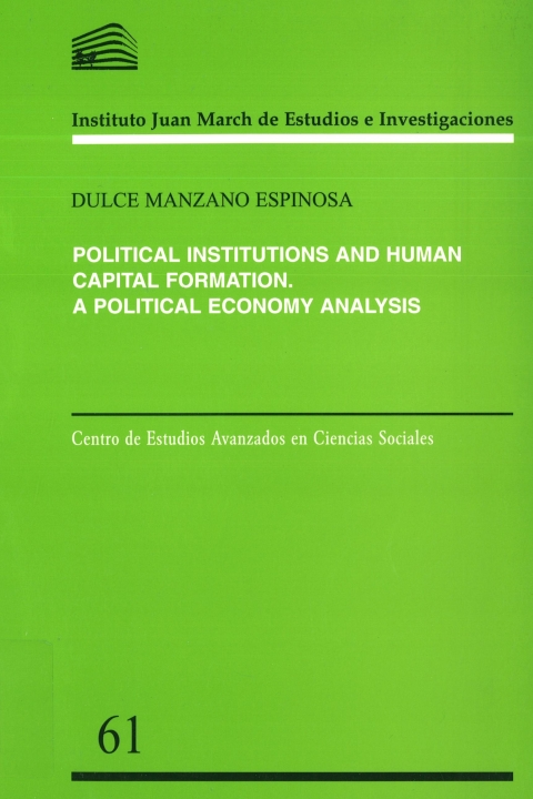 """Portada de """"Political institutions and human capital formation: a political economy analysis"""""""