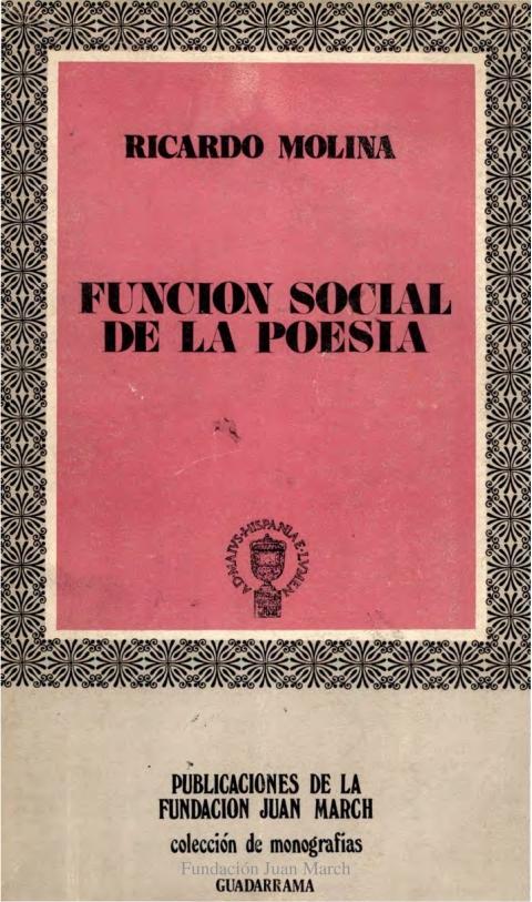 """Portada de """"Función social de la poesía"""""""