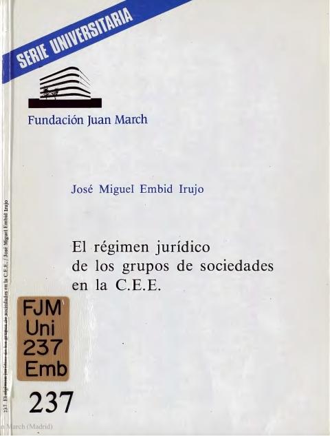 """Portada de """"El Régimen jurídico de los grupos de sociedades en la C.E.E."""""""