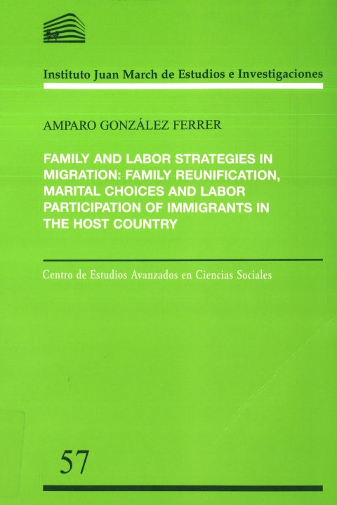 """Portada de """"Family and labor strategies in migration: family reunification, marital choices and labor participation of immigrants in the host country"""""""