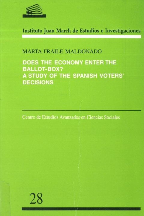 "Portada de ""Does the economy enter the ballot-box?: a study of the Spanish voters' decisions"""