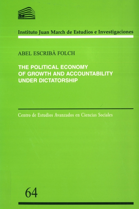 "Portada de ""The political economy of growth and accountability under dictatorship"""
