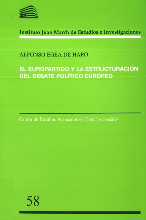 """Portada de """"El Europartido y la estructuración del debate político europeo"""""""
