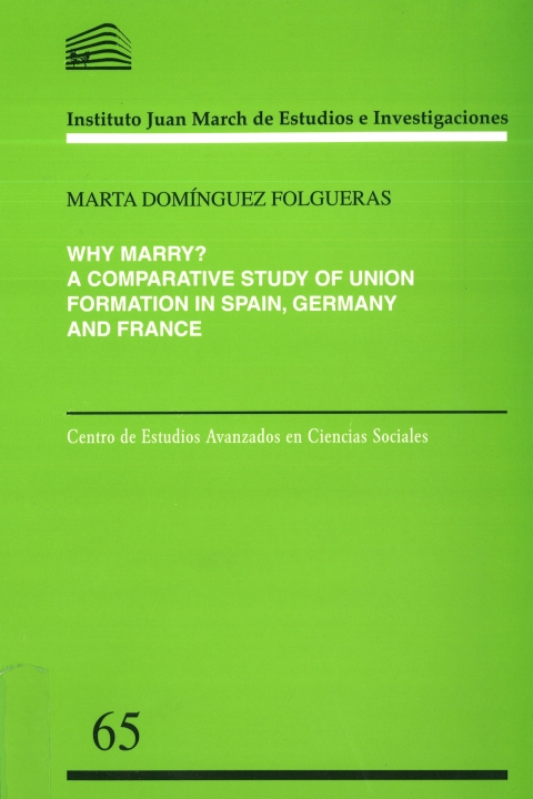 "Portada de ""Why marry?: a comparative study of union formation in Spain, Germany and France"""
