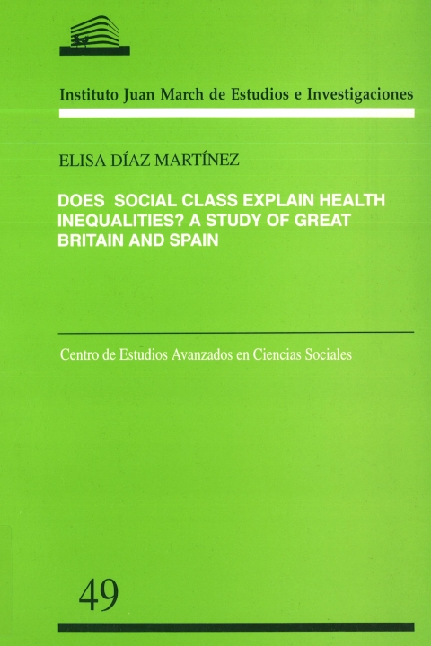 "Portada de ""Does social class explain health inequalities?: a study of Great Britain and Spain"""
