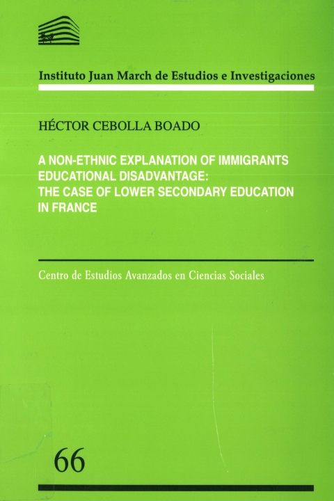 """Portada de """"A non-ethnic explanation of immigrants educational disadvantage: the case of lower secondary education in France"""""""
