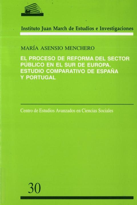 """Portada de """"El Proceso de reforma del sector público en el sur de Europa: estudio comparativo de España y Portugal"""""""