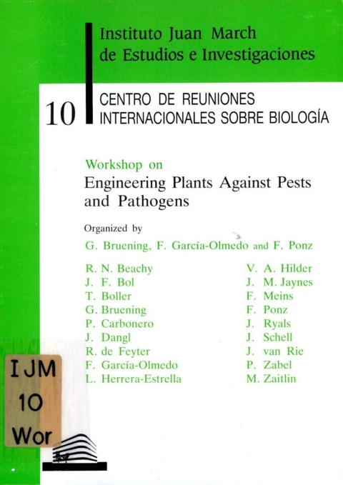 "Portada de ""Workshop on Engineering Plants Against Pests and Pathogens"""