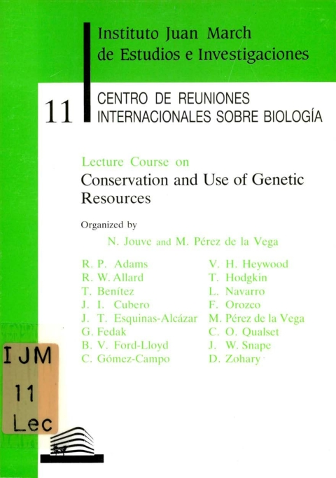 """Portada de """"Lecture Course on Conservation and Use of Genetic Resources"""""""