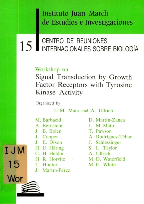 "Portada de ""Workshop on Signal Transduction by Growth Factor Receptors with Tyrosine Kinase Activity"""