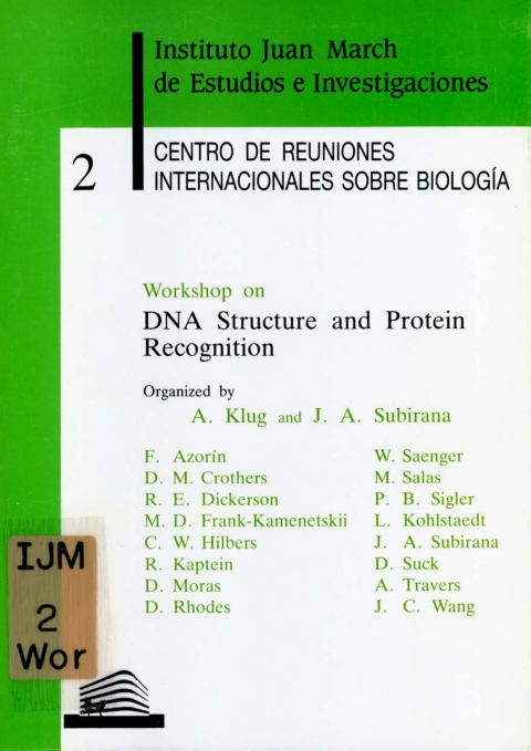 """Portada de """"Workshop on DNA Structure and Protein Recognition"""""""
