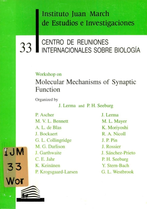"Portada de ""Workshop on Molecular Mechanisms of Synaptic Function"""