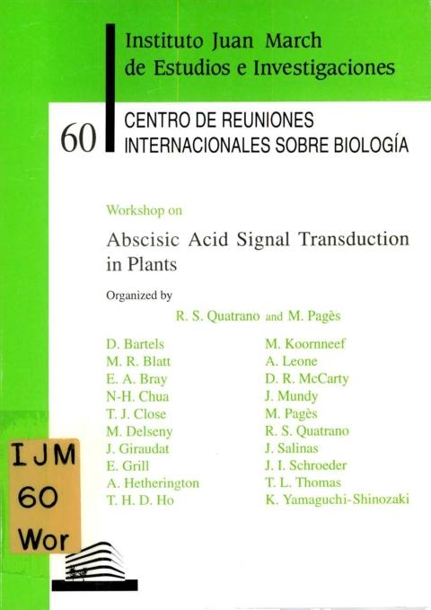 "Portada de ""Workshop on Abscisic Acid Signal Transduction in Plants"""