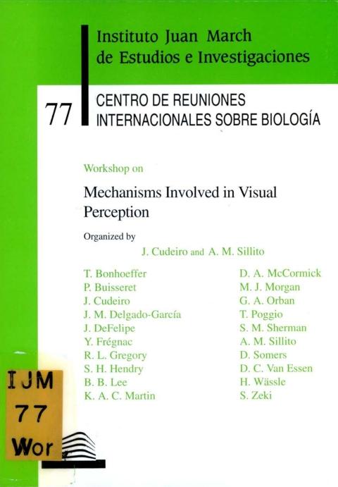 "Portada de ""Workshop on Mechanisms Involved in Visual Perception"""