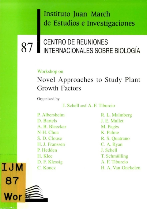 "Portada de ""Workshop on Novel Approaches to Study Plant growth Factors"""