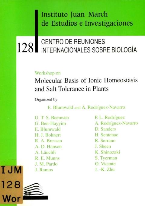 "Portada de ""Workshop on Molecular Basis of Ionic Homeostasis and Salt Tolerance in Plants"""