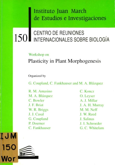 "Portada de ""Workshop on Plasticity in Plant Morphogenesis"""