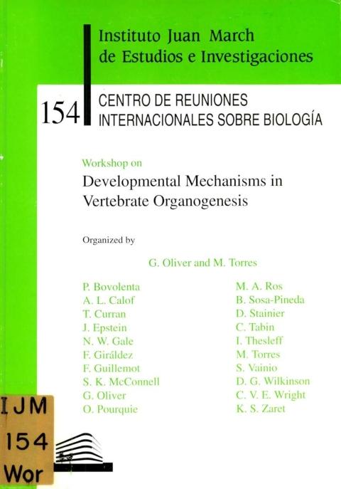 "Portada de ""Workshop on Development Mechanisms in Vertebrate Organogenesis"""