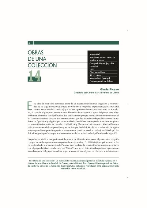Composición (mujer; tallo; corazón). 1925 de Joan Miró. Museu Fundación Juan March. Palma [2005]. Biblioteca