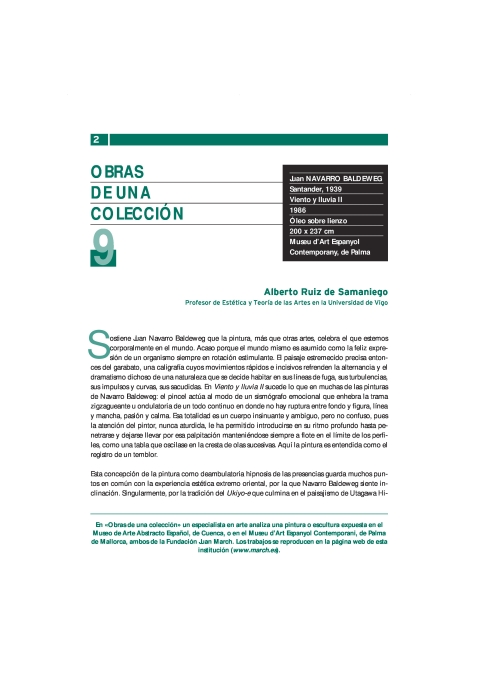 Viento y lluvia II. 1986 de Juan Navarro Baldeweg. Museu Fundación Juan March. Palma [2004]. Biblioteca