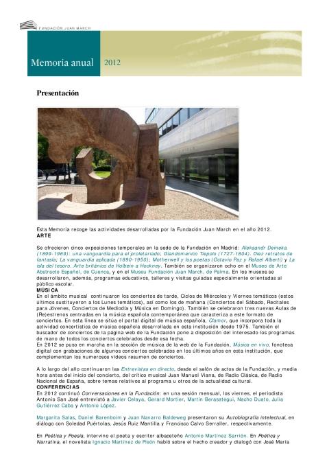 "Portada de ""Memoria anual 2012"""