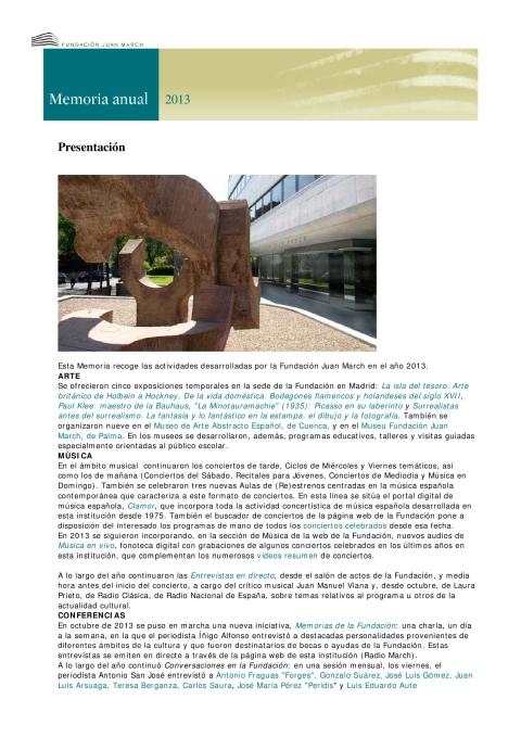 "Portada de ""Memoria anual 2013"""