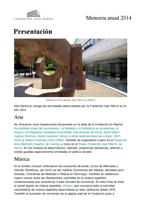 "Portada de ""Memoria anual 2014"""
