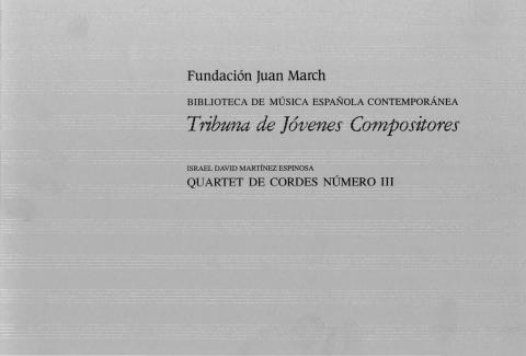"""Portada de """"Quartet de cordes número III"""""""