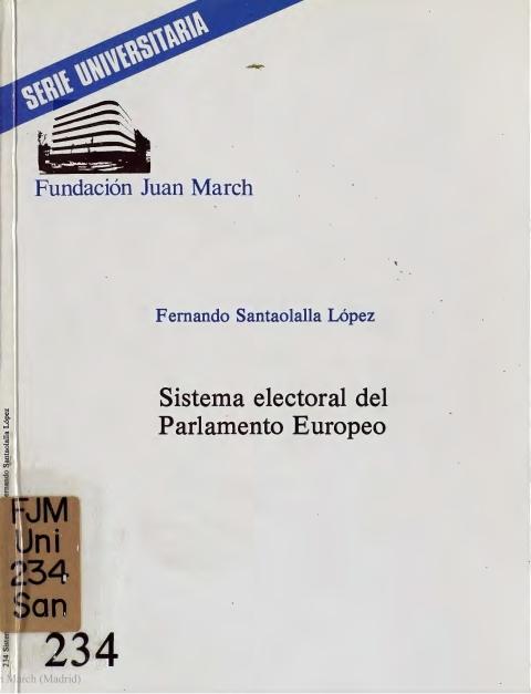 Sistema electoral del Parlamento Europeo [1986]. Biblioteca